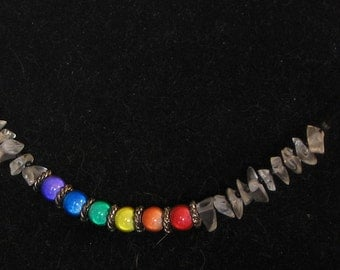 Gay Pride Miracle Bead and Glass Chip Necklace