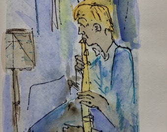 3 Clarinet player.Series of musicians Original engraveing ,printing by press ,inked and printed on 270g paper.Watercolor above the printing.