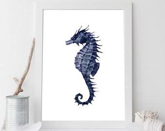 Navy Blue Seahorse Digital Print, Coastal Wall Art, Beach House Decor, Ocean Print, Seahorse Wall Decor, Nautical Print, Navy Blue Art