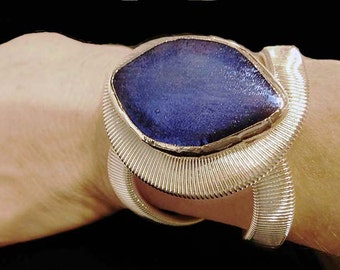 Dichroic Fused Blue Hinged Cuff Bracelet