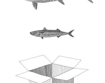 Big Fish Little Fish Cardboard Box - card or mounted print by Racheal Bamford / rave / ravers / 90's / dance