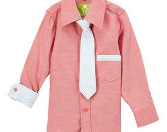 Future Trillionaire Salmon Chambray Shirt and Tie Set (Ftrill3011)