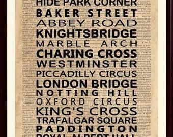 London Subway Art, London Art Print, London England, London Wall Decor, London Poster, London Wall Art, London Gift