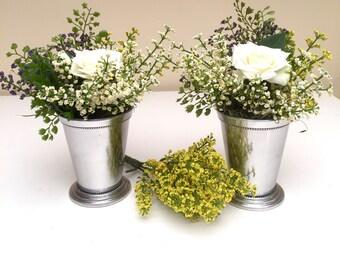Set of 2 Silver Mint Julip Cup Floral Arrangements
