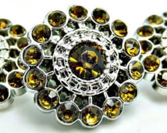 TOPAZ Rhinestone Buttons Acrylic Rhinestone Buttons Pin Wheel Shaped Rhinestone Buttons Coat Buttons Fashion Buttons 26mm 3186 12R
