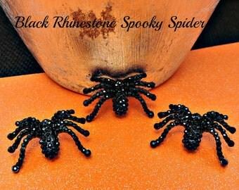 Black Rhinestone Spiders Halloween Rhinestone Buttons Ribbon Sliders Crystal Flatback Embellishments Scrapbooking Flower Centers 32 mm
