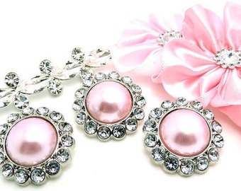 LIGHT PINK Pearl Buttons W/ Crystal Clear Surrounding Rhinestones Brooch Button Bouquet Coat Buttons 26mm 3185 2P 2R