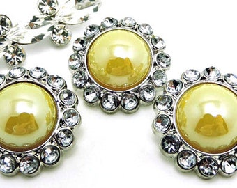 Shiny YELLOW Pearl Buttons W/ Crystal Clear Surrounding Rhinestones Brooch Button Bouquet Coat Buttons 26mm 3185 40P 2R