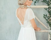 Teona / Embroidered top beautiful open back wedding dress / Boho chic