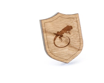 Iguana Lapel Pin, Wooden Pin, Wooden Lapel, Gift For Him or Her, Wedding Gifts, Groomsman Gifts, and Personalized