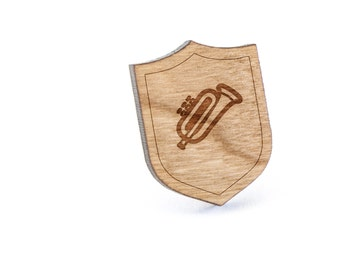 Trumpet Lapel Pin, Wooden Pin, Wooden Lapel, Gift For Him or Her, Wedding Gifts, Groomsman Gifts, and Personalized