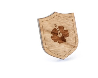 Hawaiian Flower Lapel Pin, Wooden Pin, Wooden Lapel, Gift For Him or Her, Wedding Gifts, Groomsman Gifts, and Personalized