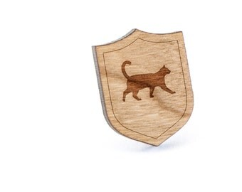 Cat Lapel Pin, Wooden Pin, Wooden Lapel, Gift For Him or Her, Wedding Gifts, Groomsman Gifts, and Personalized