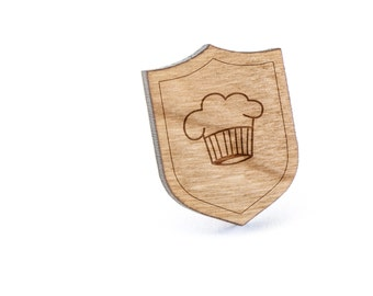 Chefs Hat Lapel Pin, Wooden Pin, Wooden Lapel, Gift For Him or Her, Wedding Gifts, Groomsman Gifts, and Personalized