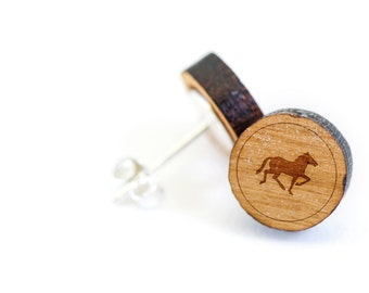 Horse Stud Earring, Wooden Earring, Gift For Him or Her, Wedding Gifts, Groomsman Gifts, Bridesmaid Gifts, and Personalized