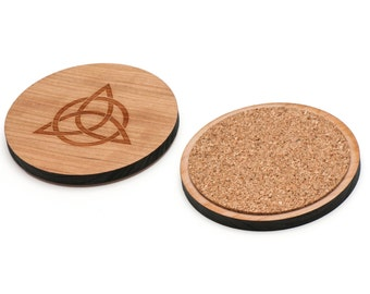 Celtic Knot Wooden Coasters Set of 4, Gifts For Him, Wedding Gifts, Groomsman Gifts, and Personalized
