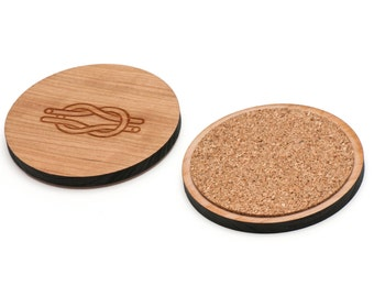 Knot Wooden Coasters Set of 4, Gifts For Him, Wedding Gifts, Groomsman Gifts, and Personalized