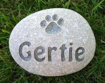 Small River Stone Pet Memorial -  Custom Engraved - Free Shipping