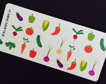 VEGGIE Strips-Vegetables- Stickers-Removable-Perfect for Your Planner-Agenda-LV-Filofax-Gillio-Eric Condren