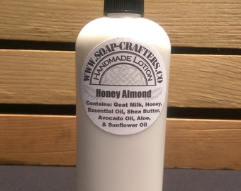 Handmade Goat Milk Honey Almond Lotion 8oz Bottle with Pump