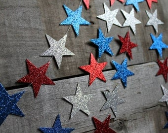 4th of July Decor - Red and Silver and Blue - 4th of July - Star Garland