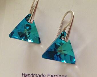 Choose Colour Swarovski Elements Triangle Earrings-Sterling Silver Hooks - Australian seller
