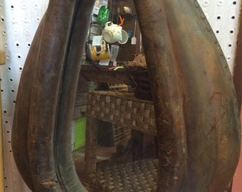 Old Leather Horse Collar Mirror