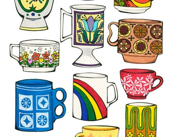Vintage Kitsch Mugs Illustration - Archival Print From Original Drawing