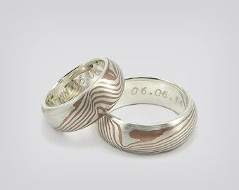 "Partner rings / wedding rings ""Mokume Gane"""