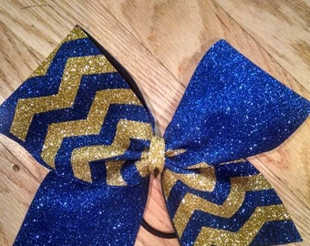 Royal blue and Gold Chevron Bow