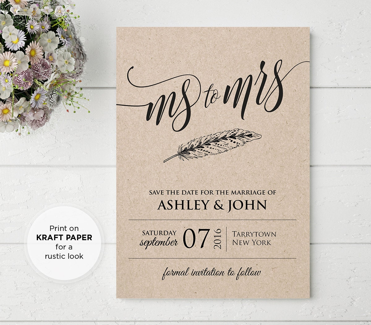 Wedding save the date template instant download ms to mrs for Save the date templates free download