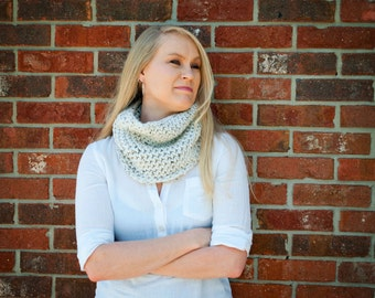 Neutral knit neckwarmer cowl