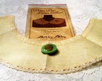 Vintage Detachable Collar, Women's Detachable Collar, Made of Linen, With Lace Trim, Ready for Personal Embellishments
