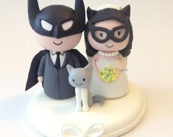 Cute Batman and Batgirl  Wedding Cake Topper