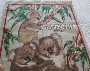 Vintage Tea Towel Linen Hand Painted Australian Koalas, Vintage Linen Australian Tea Towel, Koalas Tea Towel, Linen Kitchen Towel