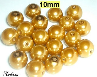 20 glass beads, pearl beads 10 mm gold (810.22)