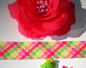 Inspiration Embellishment Kit Hot Pink Chiffon Rose Grosgrain Ribbon Hair Bows Hats Home Decor