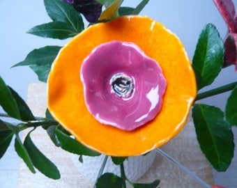 Pretty ceramic flower orange and Pink for the home