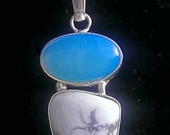 White Howlite and Opalite Necklace