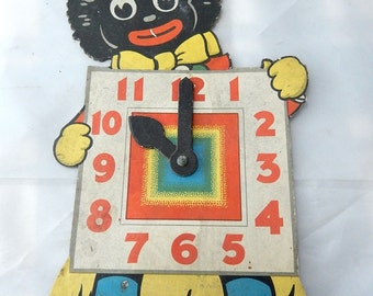 1950'S ROBERTSON'S GOLLY  CLOCK cardboard tell the time clock