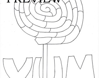 Printable Yum Easy Coloring Pages For Adults Big Spaces PDF JPG