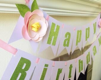 Garden Party Birthday Banner//Fairy Banner//Flowers//Pink, Purple and Glitter Green//Happy Birthday