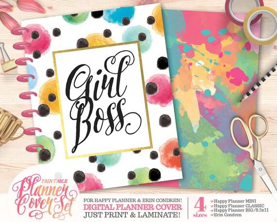 printable planner  binder cover set girl boss