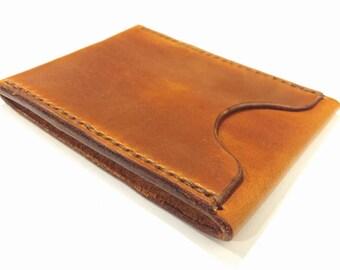 Handcrafted Card Holder with Cash Pocket - Saddle Tan