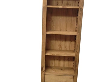 Rustic Pine Tall Bookcase with drawers (Can be made to any size)