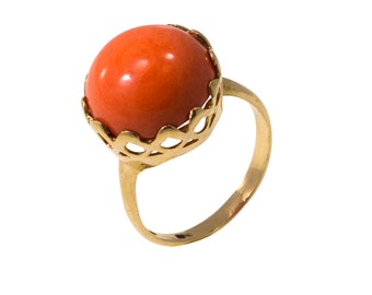 Coral Ring, gold lapis Ring, solid Gold Ring, orange coral Ring, 14k gold ring, coral jewlry, Real Gold Ring, Special Gold Ring, coral stone