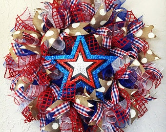 Patriotic Wreath for Front Door, Fourth of July Wreath for Front Door, Patriotic Wreath with Mesh, 4th of July Wreath, Memorial Day Wreath