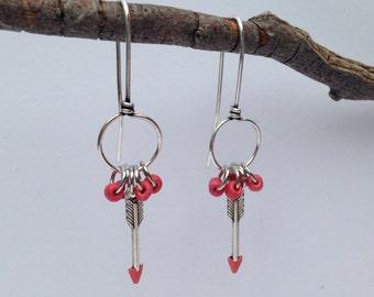 Arrow earrings, arrow and bead dangle earrings, handmade earrings