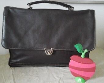 Vintage Dark Brown Leather Handbag for Women Made by J&J Fashion Made in Sweden