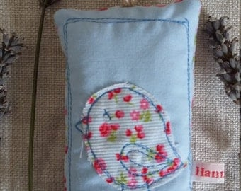 stitched bird lavender bag